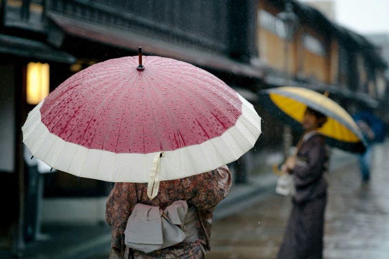 Pink umbrella on rainy day in city