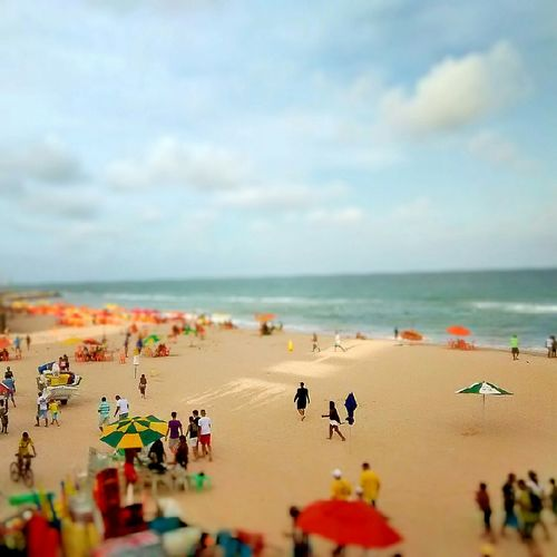 Tilt-Shift Image Of People Enjoying On Pina Beach