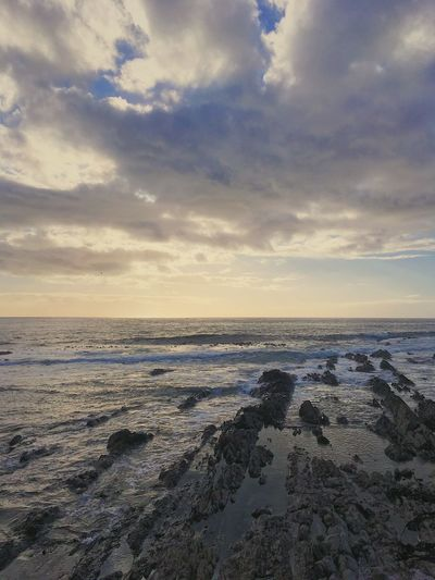 Evening sunset on a cold day in Cape Town. Beach Beauty In Nature Cloud - Sky Cold Temperature Day Horizon Over Water Nature No People Outdoors Sand Scenics Sea Sky Sunset Tranquil Scene Tranquility Water Wave