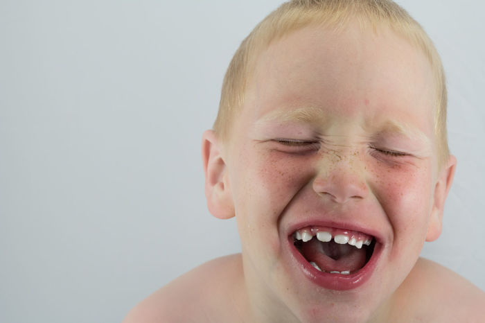 Close-up Child Laughing Teeth Face Boy Shirtless