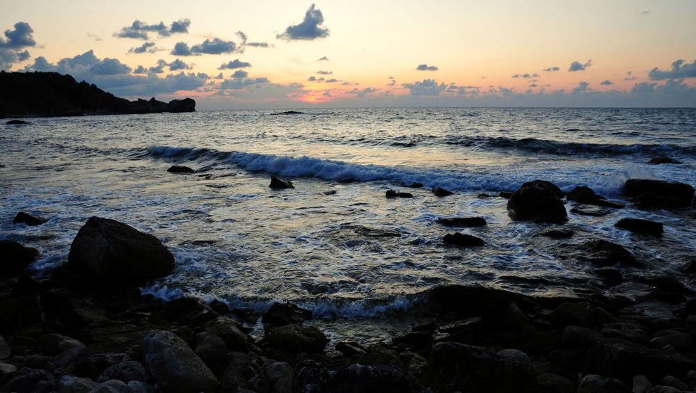 Sunset of Seyrek Cloud - Sky Coastline Horizon Over Water Kandira Rock - Object Rocky Sea Sunset Turkey Wave