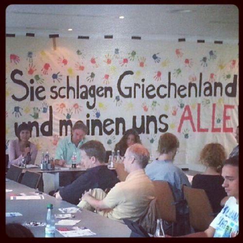 Veranstaltung der DGB -Jugend Hessen-Thüringen mit zwei Gewerkschafterinnen aus Griechenland Gewerkschaft Politik