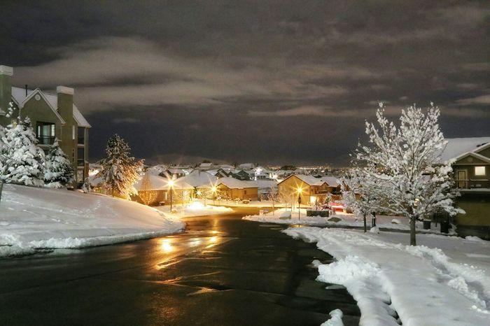Fresh Snow Quiet Neighborhood Nighttime Street Lights