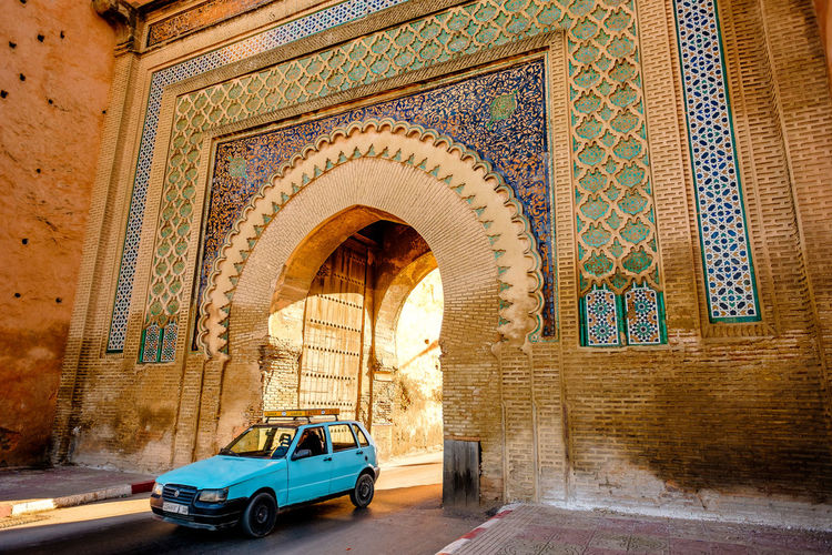 Bab El Khemis Gate Meknès Morocco Ornament Travel Arch Architecture Built Structure Car Citywall Ornate Outdoors Pattern Street Streetphotography Tourism Travel Destinations