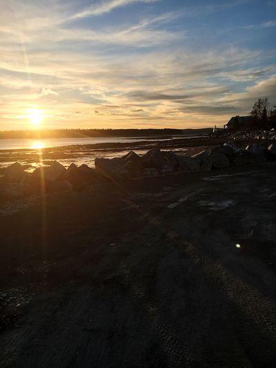 Canada Sunset Sea Rocks Beach Winter Sky Water New Brunswick, Canada Saint Andrews Nature Landscape
