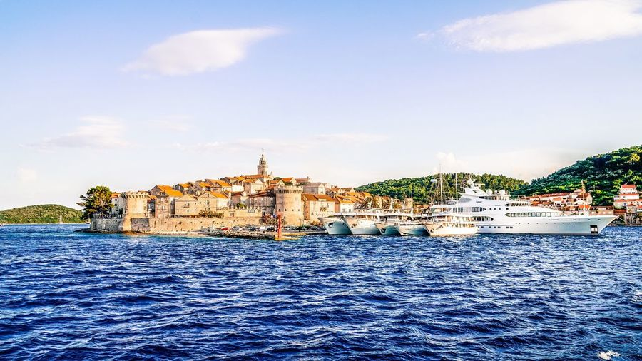 Korcula Architecture Building Exterior Built Structure Sky Water Waterfront Religion Outdoors River Travel Destinations City No People Day Place Of Worship Dome Nature Cityscape Baroque Style Ship Harbor Harbour View