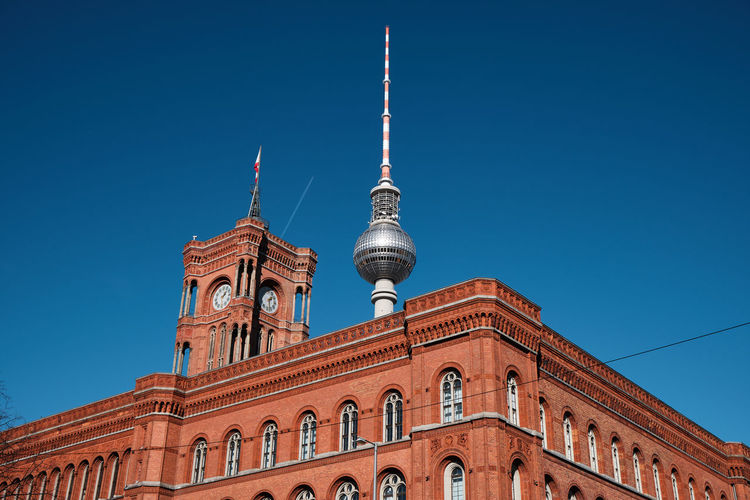Rotes Rathaus & Berliner Fernsehturm Sky Architecture Clear Sky Low Angle View Tower City Spire  Day Blue Travel Tourism No People