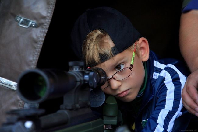 Blond Hair Child Eyeglasses  Face Headshot Kid Marksman One Man Only One Person People Portrait Rifle Scope Sniper Weapon Young Adult
