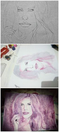 🎨 process PowerRangerPelangi Art, Drawing, Creativity Painting Art Lady Illustration Face Drawing Drawing Process Processing