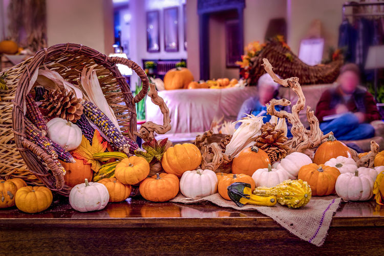Thanksgiving theme of pumpkins Thanksgiving Celebration Day Food Gourd Halloween Indoors  No People Pumpkin Vegetable