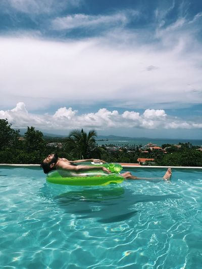 Swimming Pool Water Floating On Water Vacations Relaxation Puerto Rico