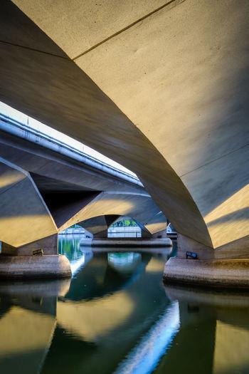 Reflection of bridge in river