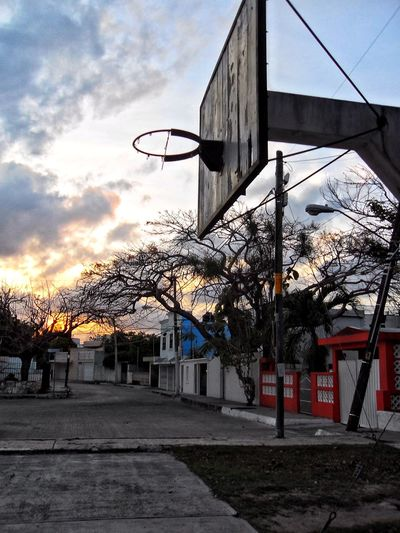 An old Basketball hoop with a background sunset in Cancún Architecture Background Bare Tree Basketball Basketball Hoop Building Exterior Built Structure City Cloud - Sky Day Hoop Nature No People Old Outdoors Road Sky Street Sunset Sunset #sun #clouds #skylovers #sky #nature #beautifulinnature #naturalbeauty #photography #landscape Sunset Background The Way Forward Tree