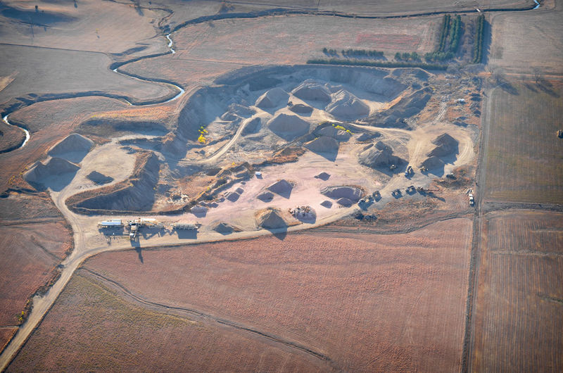 Aerial View Agriculture Environment Landscape Land Rural Scene Field High Angle View Aerial Aerial Photography Quarry Sand Gravel Sand Pit Gravel Pit Aggregate Operation Mining Equipment Trucking Digging Material Earth Creek River
