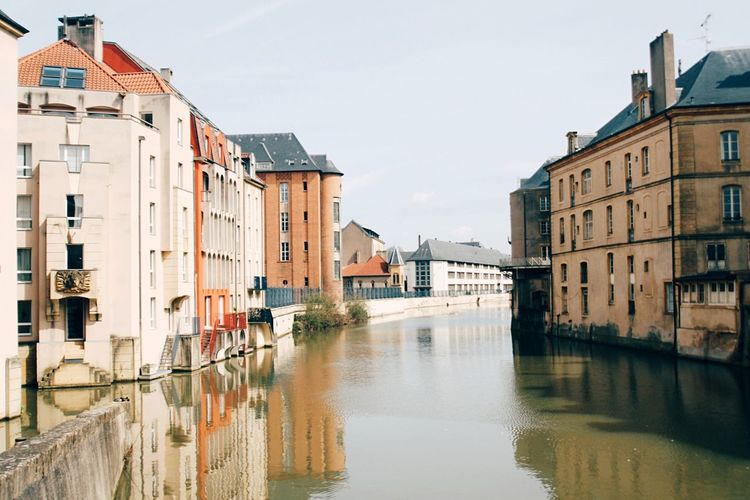 Reflection Building Exterior Water Architecture Built Structure Waterfront Residential Building Sky Outdoors No People Day Metz, France France River In The City Travel Destinations My Best Travel Photo