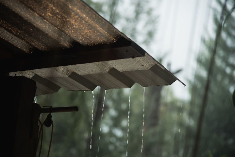 Low Angle View Of Water Dripping From Roof During Rain