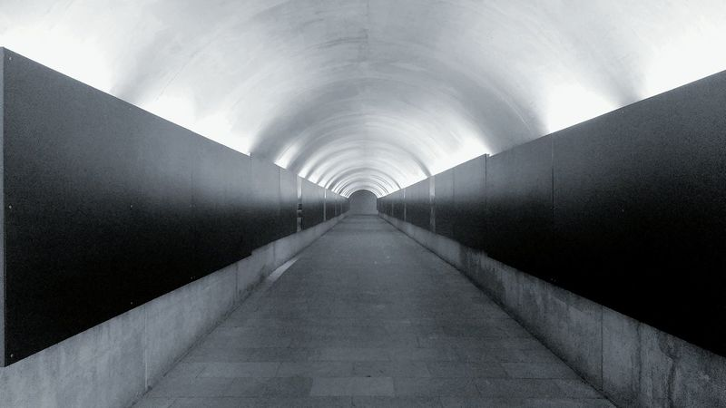 Follow the tunnel Blackandwhite Tunnel Tunnelvision Lightattheendofthetunnel
