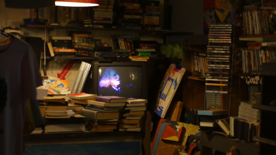 90s Absence Books Dark Electric Lamp Empty Furniture Illuminated Little Room Low Light Night No People Old School Shop Tv VHS Vintage