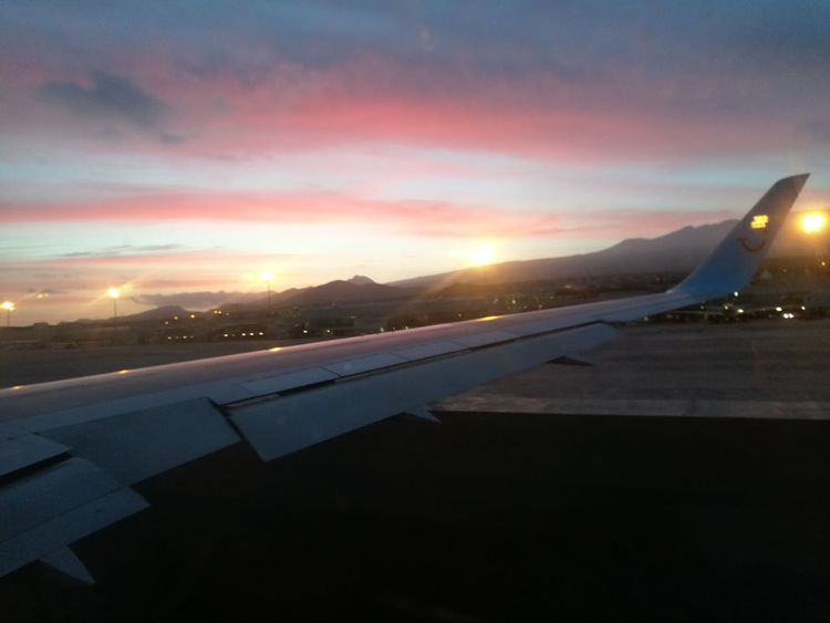 Airplane Sunset Transportation Airport Runway Airport No People Cloud - Sky Mountain Flying Nature Tenerife