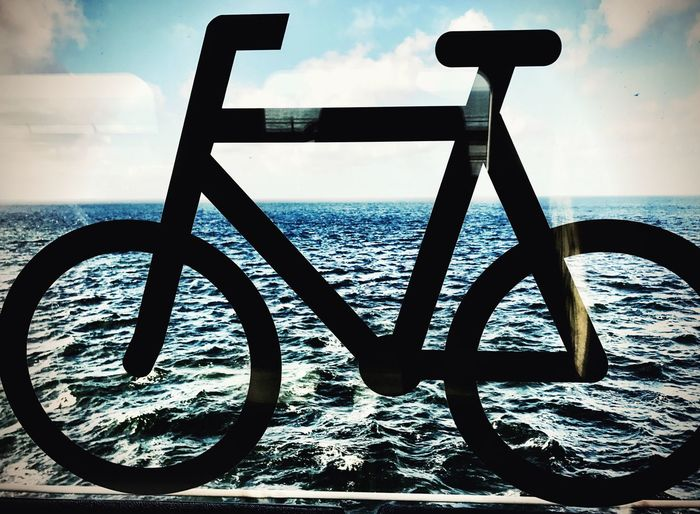 Sky Sea Water No People Horizon Over Water Close-up Cloud - Sky Bike Bycicle Bycicle Sign Train IPhoneography Shotoniphone7 Bike On Water Blue Playing With Perspective