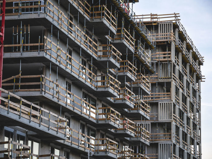 Low angle view of a construction side against sky