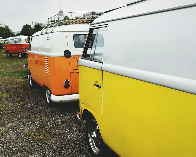 Transportation Mode Of Transport Land Vehicle Outdoors Day Stationary No People Car Yellow Sky Scenics Lifestyles Tranquility Multi Colored VW VW T1