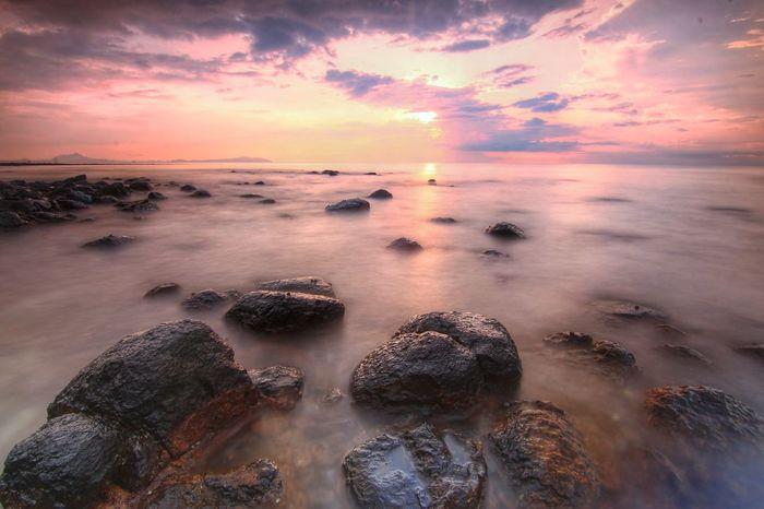 Sunrise Rock Slow Shutter Sunset Low Tide Seascape Dramatic Sky