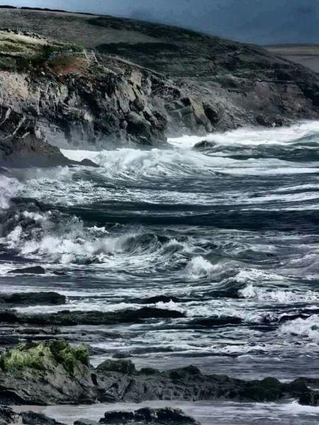 Stormy Sea Waves Waves Crashing Sea Blue Grey Rocks Cliffs Drama Dramaticeffect