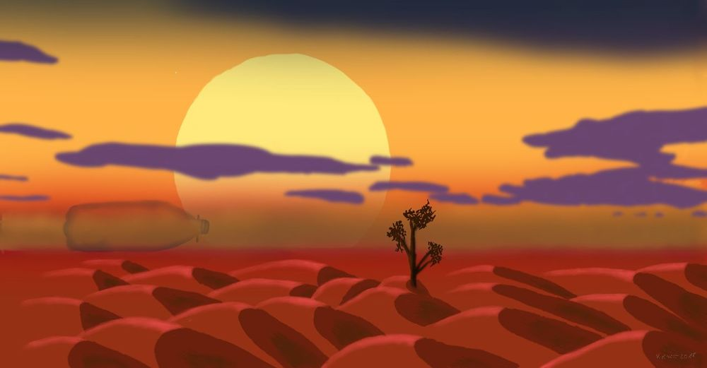 Water is Lifd Surrealist Art Digital Art Digital Painting Layerpainthd Sunset Yellow Silhouette Flower Sun Sky Landscape Cloud - Sky