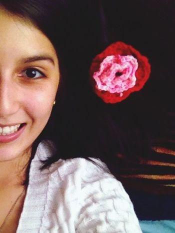 Girl put your records on! Girl Brunnette Flower Crochet Brown Brown Eyes