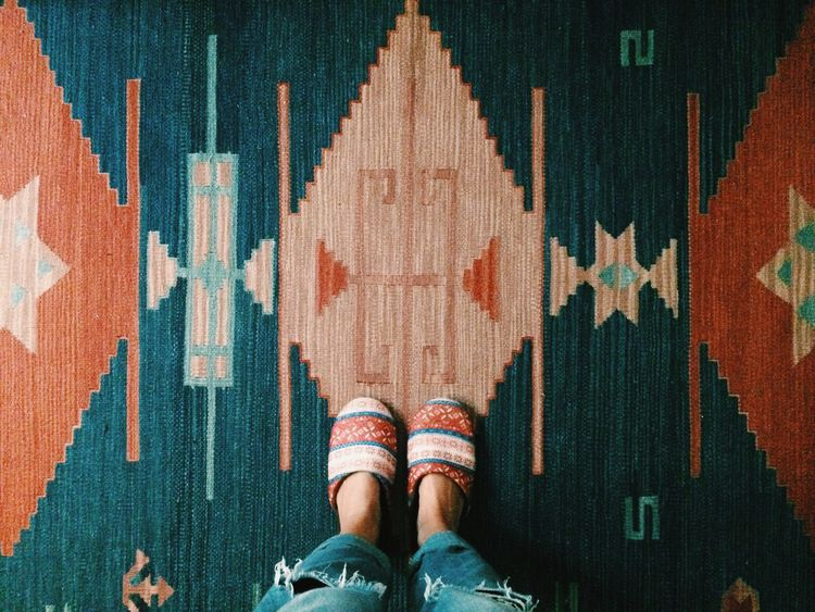 Rug Indoors  Comfy  Comfy And Cozy Slippers Pattern Textures And Surfaces Textured  Texture Color Pink Bedroom Floor Flooring Looking Down From Above  Feet