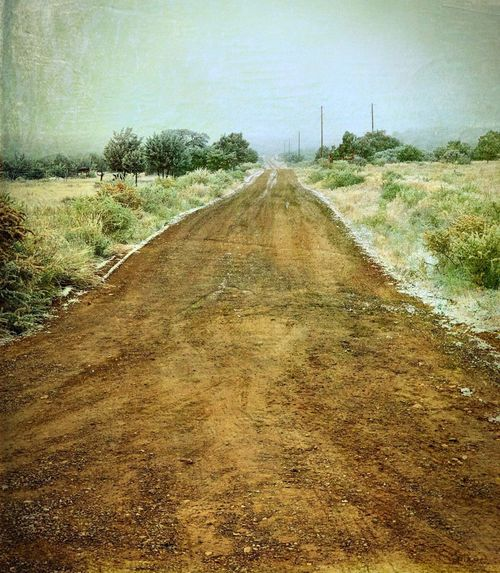 """""""Ode To Country Roads"""" A dirt country road in the Village of Corona, New Mexico leads into the fog on a cold and snowy mid October morn. Country Road Dirt Road Rural Road Rural Roads Fog Foggy Foggy Morning Snow New Mexico Photography New Mexico The Way Forward Diminishing Perspective Nature Land Road vanishing point"""