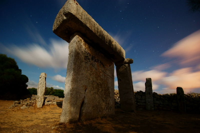 Menorca Stars Magical Talaiot TalatideDalt Long Exposure Longexposure Monument Rock - Object Rocks Old Travel Tourism Tourist Tourist Attraction  Tourist Destination Abandoned Places Civilization Nightphotography Astronomy Sky Cloud - Sky Rock Formation Moonlight Full Moon