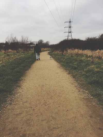 One Person Walking Electricity  Field Tree Real People Outdoors The Way Forward Sky Electricity Pylon Landscape Grass Day Animal Themes Nature People