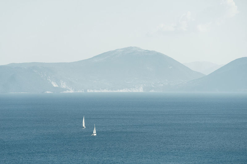 Greece Nature Landscape Sea Seascape Boats Mountain Water Coast