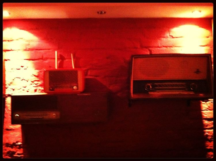 Vintage Red Old Radio Turn Your Lights Down Low
