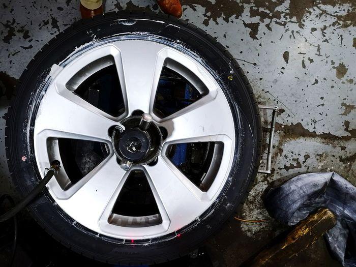 Close-up of abandoned wheel
