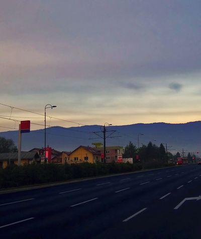 Igman Sarajevo Mountain Planina View From City Dawn Sky Road Asphalt Cars Stup Bosnia And Herzegovina