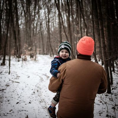 Walking in the Woods with my boy 2 . Portrait Fatherandson latergram