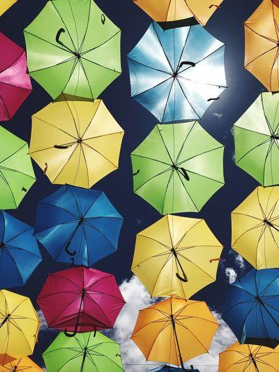 Umbrella Sky Outdoors Art Umbrellas Umbrella Multi Colored Pattern Backgrounds Shape Design Creativity Full Frame Art And Craft