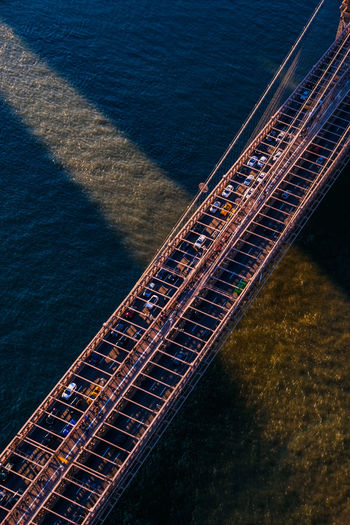 Aerial view of bridge over bay of water