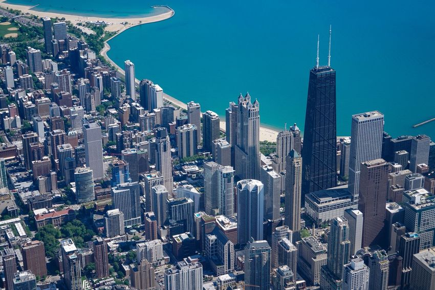 Aerial Aerial View Architecture Black & White Blackandwhite Building Exterior Built Structure Chicago Chicago Architecture City Cityscape Inflight Modern No People Outdoors Sky Skyscraper Travel Destinations