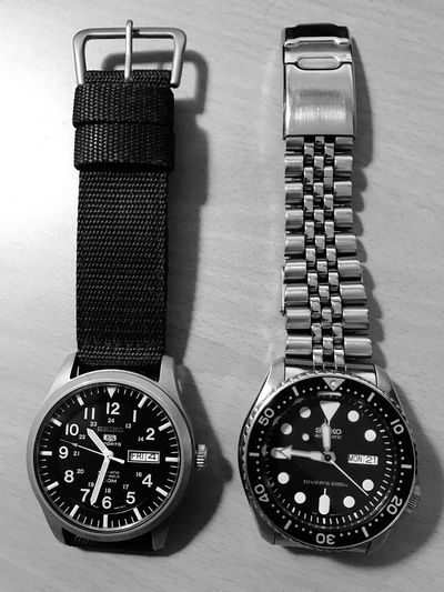 My 2 favorite watches Indoors  No People Still Life Table Time Clock Close-up High Angle View Technology Watch Metal Wristwatch Accuracy Number Instrument Of Time