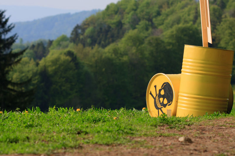 Atomic Radioactive Radioactive Catastrophy Beauty In Nature Close-up Danger Dangerous Day Field Grass Green Color Growth Landscape Mountain Nature No People Outdoors Plant Radioactive Barrels Radioactivity Road Tree Yellow