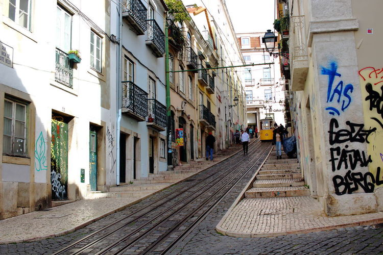 Lissabon, Portugal Lisboa Portugal Lisbon - Portugal Streets Of Lisbon Architecture Building Exterior Built Structure Rail Transportation Track Transportation Railroad Track Direction City Building Day The Way Forward Street Mode Of Transportation Residential District Outdoors Cobblestone Narrow
