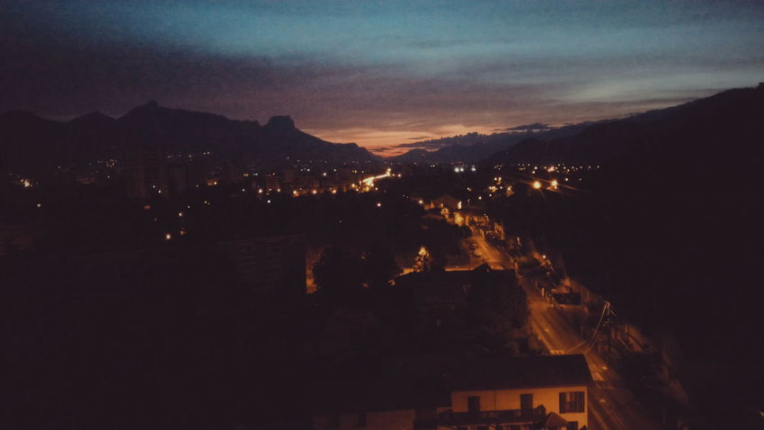 Battle Of The Cities Grenoble France Illuminated City Mountain Cityscape Sky Night No People City Life Dark