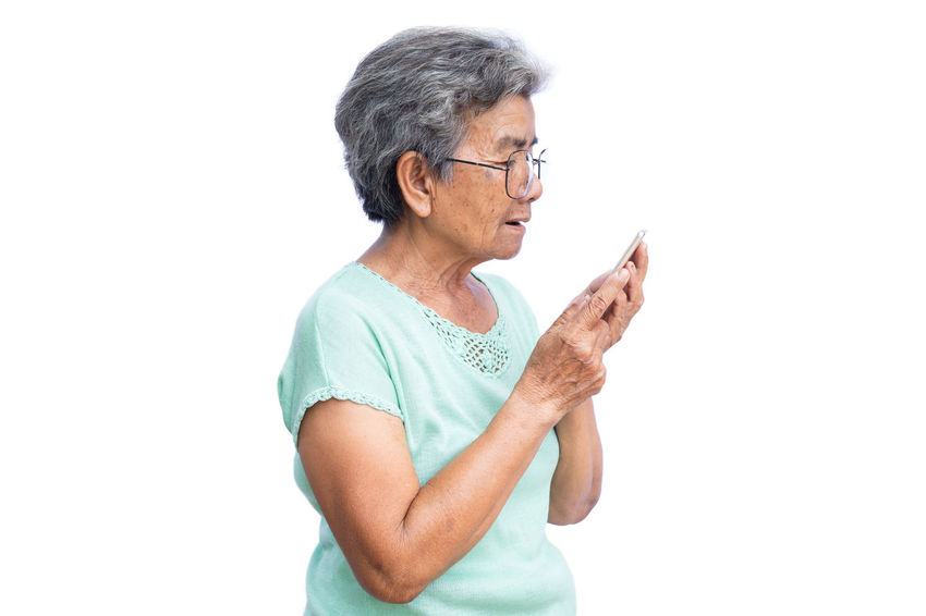 Woman Adult Eyeglasses  Old One Person Playing Senior Smart Phone Standing Technology Waist Up White Background