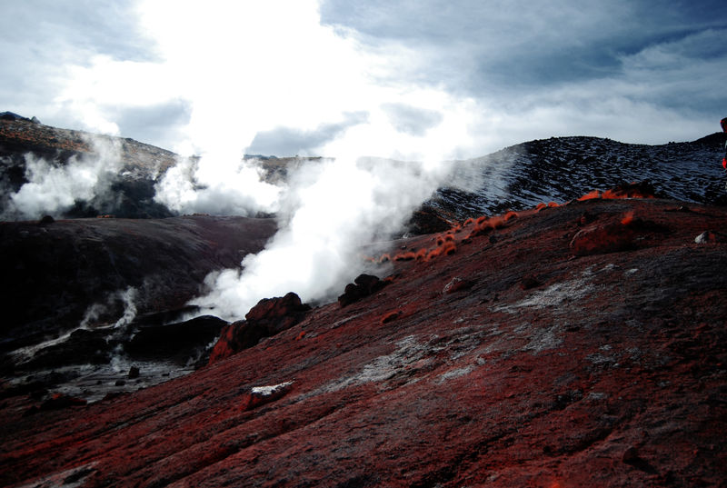 Beauty In Nature Day Geology Geyser Landscape Mountain Nature No People Outdoors Physical Geography Power In Nature Red And White Colour Scenics Snowcapped Mountain Tranquil Scene Vapor Volcanic Landscape EyeEm Selects Sommergefühle
