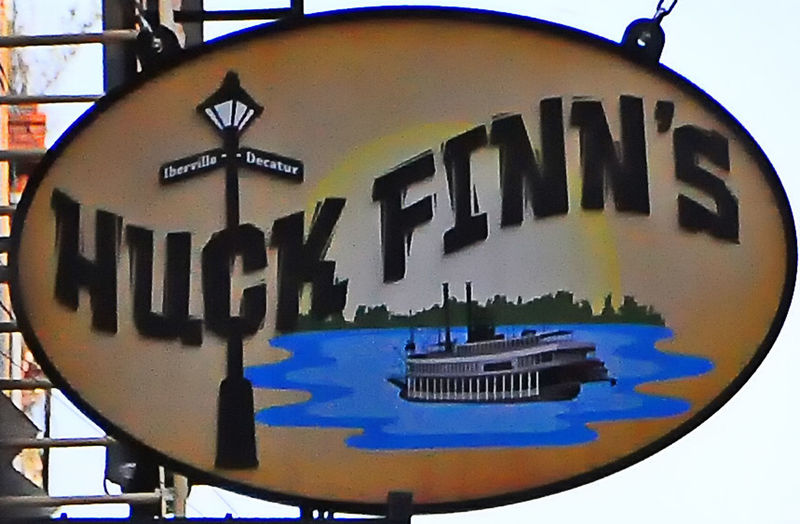 Restaurant sign - New Orleans, USA Huck Finn NOLA New Orleans Clock Face Close-up Communication Day Eating In New Orleans Minute Hand No People Outdoors Restaurant Sign Sky Text Western Script