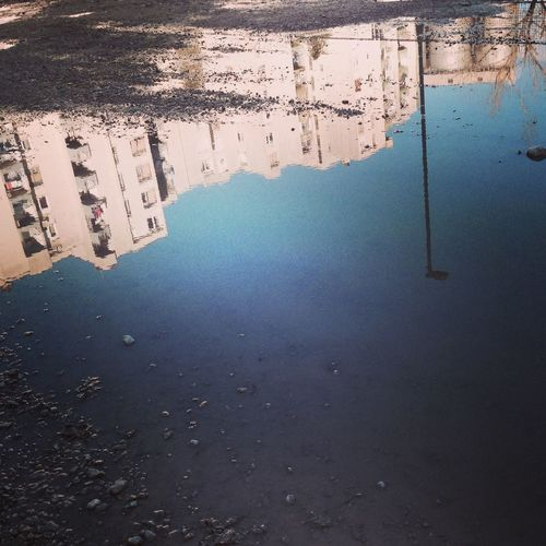 Reflection of puddle in water